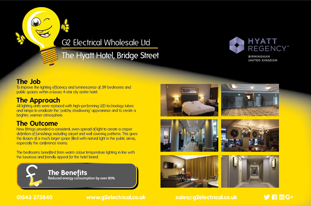 G2 Electrical Wholesale Hyatt Hotel Bridget Street Birmingham