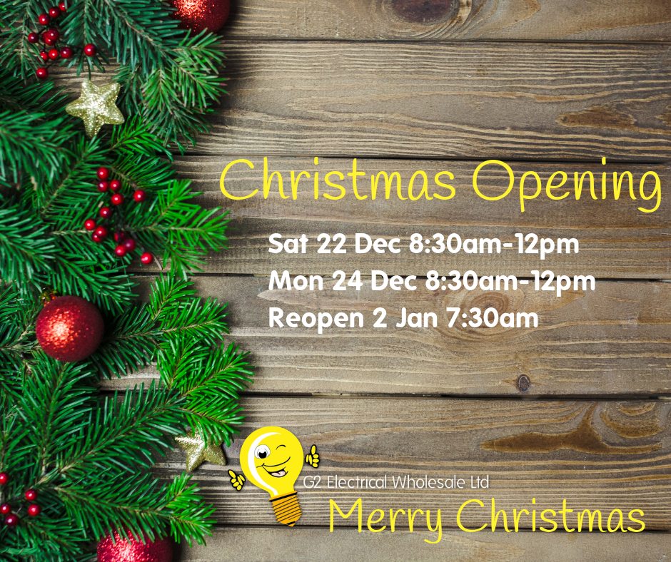 G2 Electrical Wholesale Christmas Prize Draw - Christmas Opening Hours